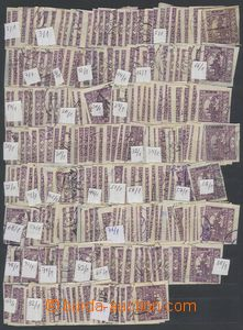 75862 -  Pof.15, 50h violet, selection of 457 pcs of stamp. with ide