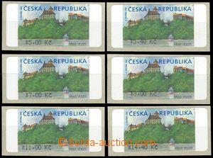 75921 - 2000 AT1 Veveří, varianta II. s *, 6 kusů, hodnoty 5,00,