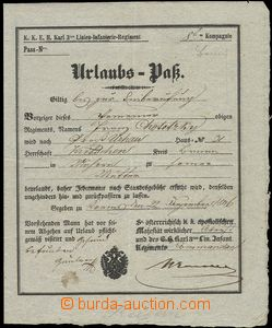 75949 - 1846 MILITARIA  folded vacation document, Francis Chotecký,