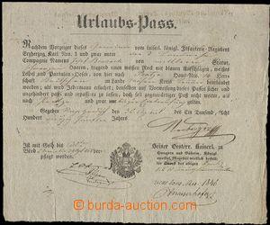 75950 - 1845 MILITARIA  dovolenkový doklad, rakouská orlice, Josef
