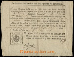 75952 - 1816 MILITARIA  vacation document, permit to opuštění format
