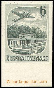 75956 - 1951 Pof.L33N, Czechoslovak Spas 6Kčs green, imperforated,