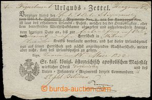 75957 - 1832 MILITARIA  vacation document, permit to opuštění format