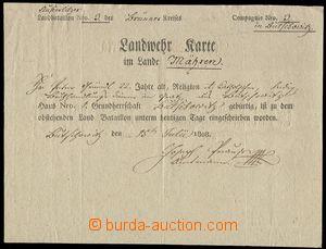 75982 - 1808 MILITARIA  legitimace člena zemské obrany (Landwehrka