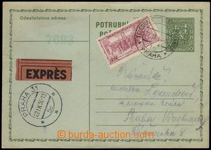 76057 - 1934 CPO2, sent as express, uprated with stamp Pof.277, all