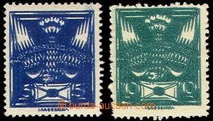 76091 -  Pof.143A, 145A, 5h blue and 10h green, double prints, c.v..