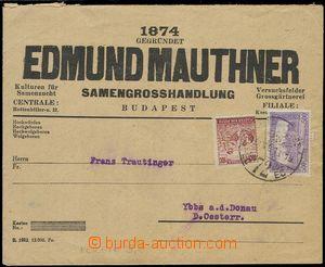 76125 - 1924 HUNGARY   firemní dopis do Rakouska vyfr. zn. Mi.347,
