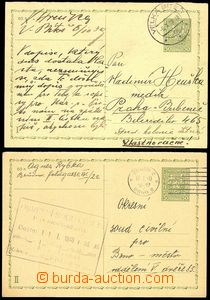 76146 - 1939-40 comp. 2 pcs of Czechosl. PC CDV66, I. and II. part,