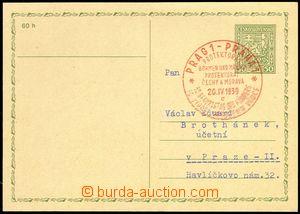 76148 - 1939 Czechosl. PC CDV65, Coat of arms 50h, PR3, distinctive