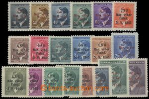 76161 - 1945 POLNÁ  red and black Opt on/for set stamp. Hitler 1942