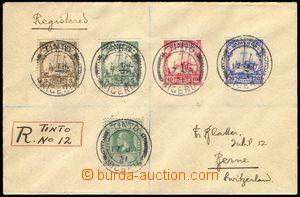 76163 - 1921 KAMERUN / Britische Besetzung  R-dopis do Švýcarska vyf