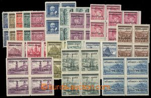 76171 - 1939 Pof.1-19, Overprint issue, blocks of four, exp. by Gilb