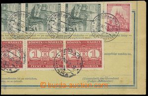 76178 - 1940 cut parcel dispatch-note franked with. two-sided stamp.