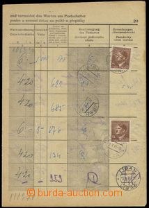 76180 - 1945 poštovní formulář se zapsanými úkony od 25.IV.45 do 10.