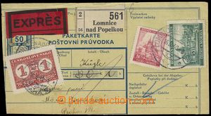 76213 - 1940 cut from parcel dispatch-note sent Ex with mounted stam