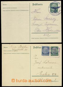 76223 - 1938 2 pcs of German PC 6Pf Hindenburg with provisory cancel