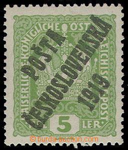 76224 -  Pof.34, Crown 5h light green, overprint type Ia, c.v.. 250C