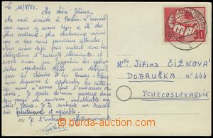 76324 - 1951 postcard addressed to to Czechoslovakia, with Mi.250, C