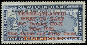 76331 - 1932 NEWFOUNDLAND Mi.184, value 1,5$, overprint for Dornier