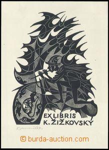76385 - 1964 JANOUŠEK D., ex libris Pištěc, rytina, signováno, rozmě