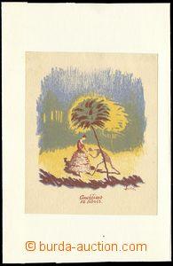 76394 -  MILÉN E. Ex libris Dáma a muž, barevný tisk, rozměr 9x11 cm