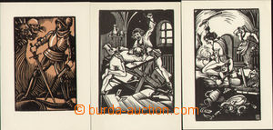 76404 - 1935? NĚMEC Charles, comp. 3 pcs of Ppc with reproductions x