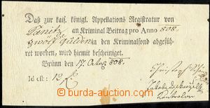 76437 - 1808 AUSTRIA / BRNO  pre-printed release about/by payment 12