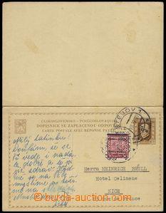 76482 - 1939 CDV34, T. G. Masaryk 1,20 CZK, complete double PC ČSR(