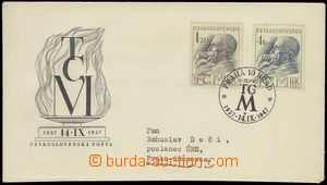 76525 - 1947 ministerial FDC M 5/47 T. G. Masaryk, on reverse Minist