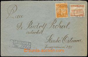 76609 - 1939 Reg letter sent from Těšín to Slezská Ostrava, fran