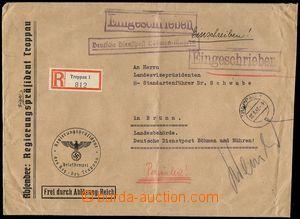 76635 - 1942 official Reg letter transported German Service Post Boh