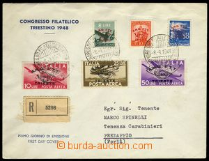 76667 - 1948 ZONE A:  FDC Mi.51-56, sent as Reg to Italy, CDS Congre