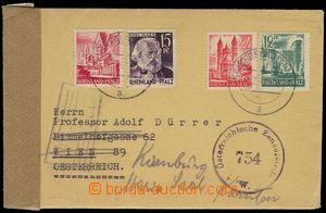 76680 - 1947 FRENCH ZONE/ RHINELAND-PALATINATE  letter with Mi.4, 5,