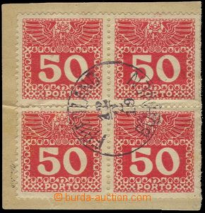 76684 - 1919 Austrian Postage due stamp Mi.P43 as blk-of-4 (!), CDS