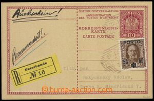 76690 - 1918 CPŘ1, PC 10h Crown sent as Reg, uprated. Austrian Post