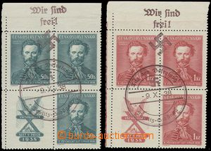 77048 - 1938 Pof.339 and 340, upper corner blocks of four with coupo