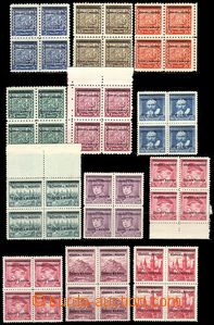 77067 - 1939 Pof.1-19 Overprint issue, blocks of four, mostly exp. b