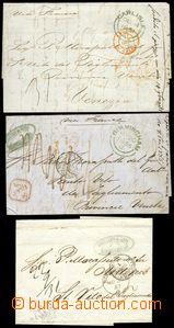 77385 - 1851-57 sestava 3ks skládaných dopisů bez frankatur, vše