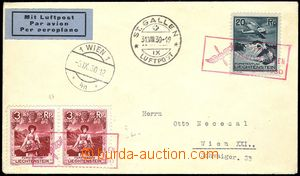 77395 - 1930 air-mail letter with Mi.2x 94, 109, June frame cancel.