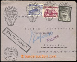 77404 - 1936 Ex letter forwarded by balloon SANOK, with Mi.296, 301