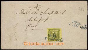 77414 - 1853 skládaný dopis vyfr. zn. Mi.2, velmi dobrý střih, 2