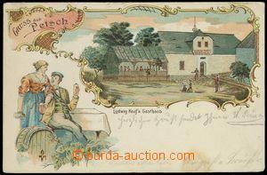 77461 - 1904 BEČOV (Petsch) - pub, beer, barrel, lithography; long