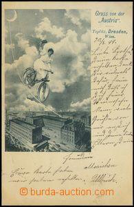 77464 - 1899 TEPLICE (Teplitz) - collage, woman on/for bicyklu over