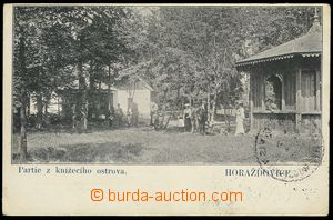 77467 - 1907 HORAŽĎOVICE - Princely island, people; Us, bumped cor