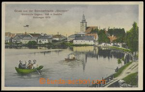 77472 - 1908 STONAŘOV (Stannern) - view of church through/over pond