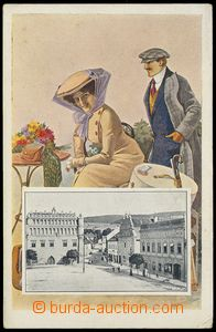 77475 - 1910 SUŠICE - collage, lady in hat; Un, bumped corners