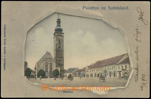 77477 - 1903 SOBĚSLAV - collage through torn paper, square; long ad