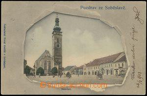 77477 - 1903 SOBĚSLAV - koláž protržený papír, náměstí; DA,