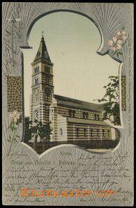 77480 - 1901 KRASLICE (Graslitz) - jednozáběrová koláž, kostel;