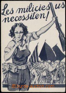 77561 - 1936 ŠPANĚLSKO / INTERBRIGÁDY  propagandistická pohledni